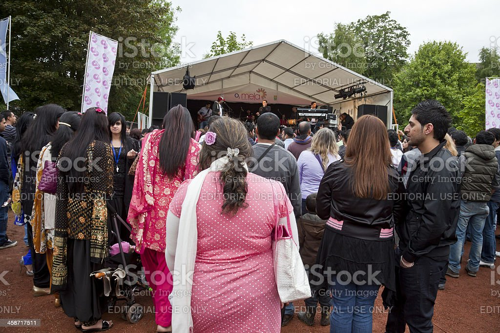 Audience of mostly Punjabi-Scots watching DCS perform stock photo