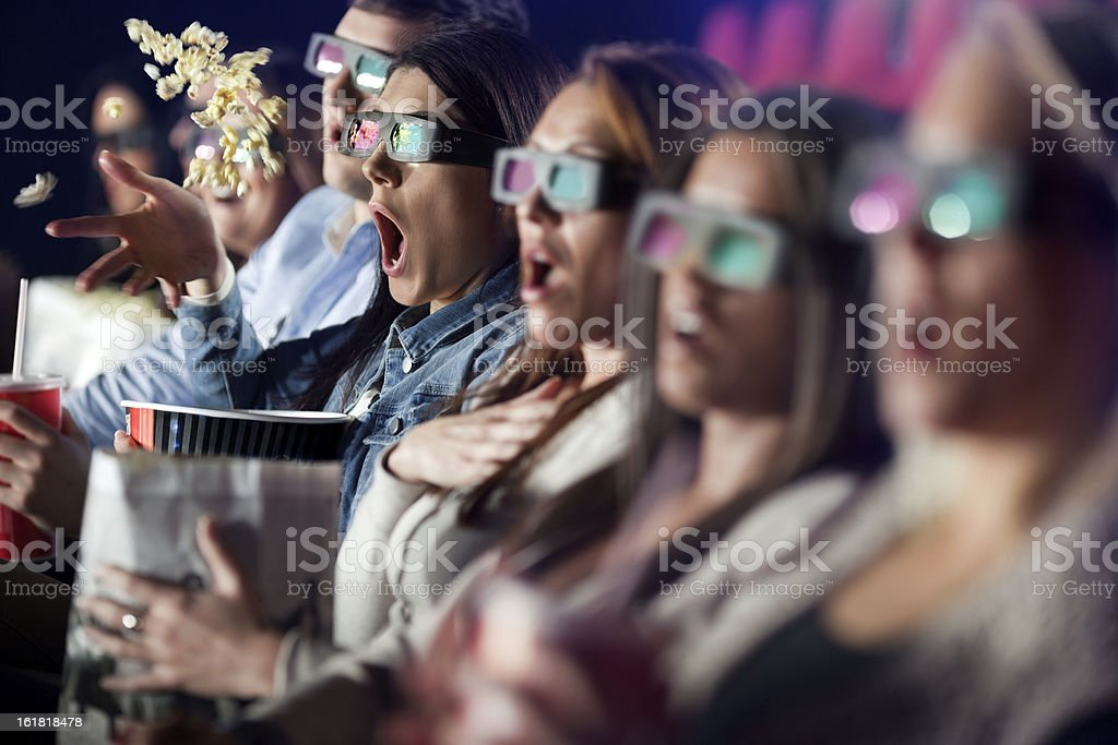 Audience Watching  Movie with 3-d glasses. stock photo