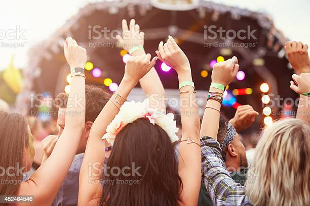 Audience With Hands In The Air At A Music Festival Stock Photo - Download Image Now