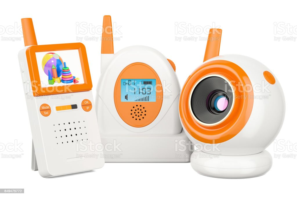 Audio baby monitor and baby cam. 3D rendering isolated on white background stock photo