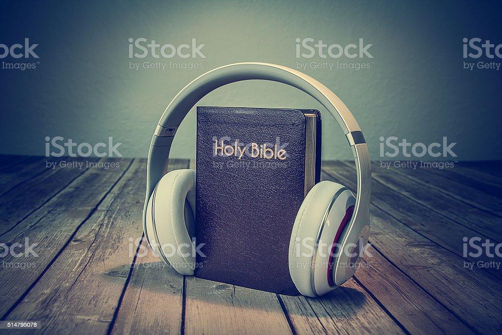 Audio Bible stock photo