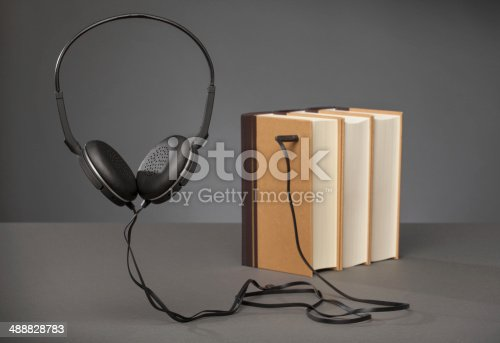 istock Audio Books on Grey Background 488828783