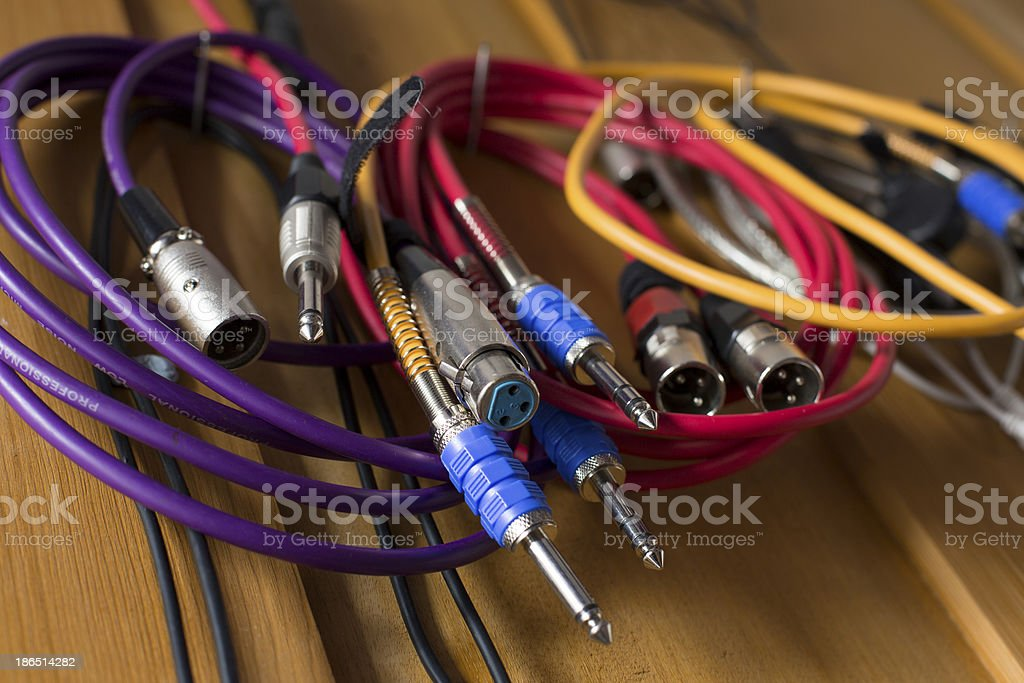 Audio cables close-up royalty-free stock photo