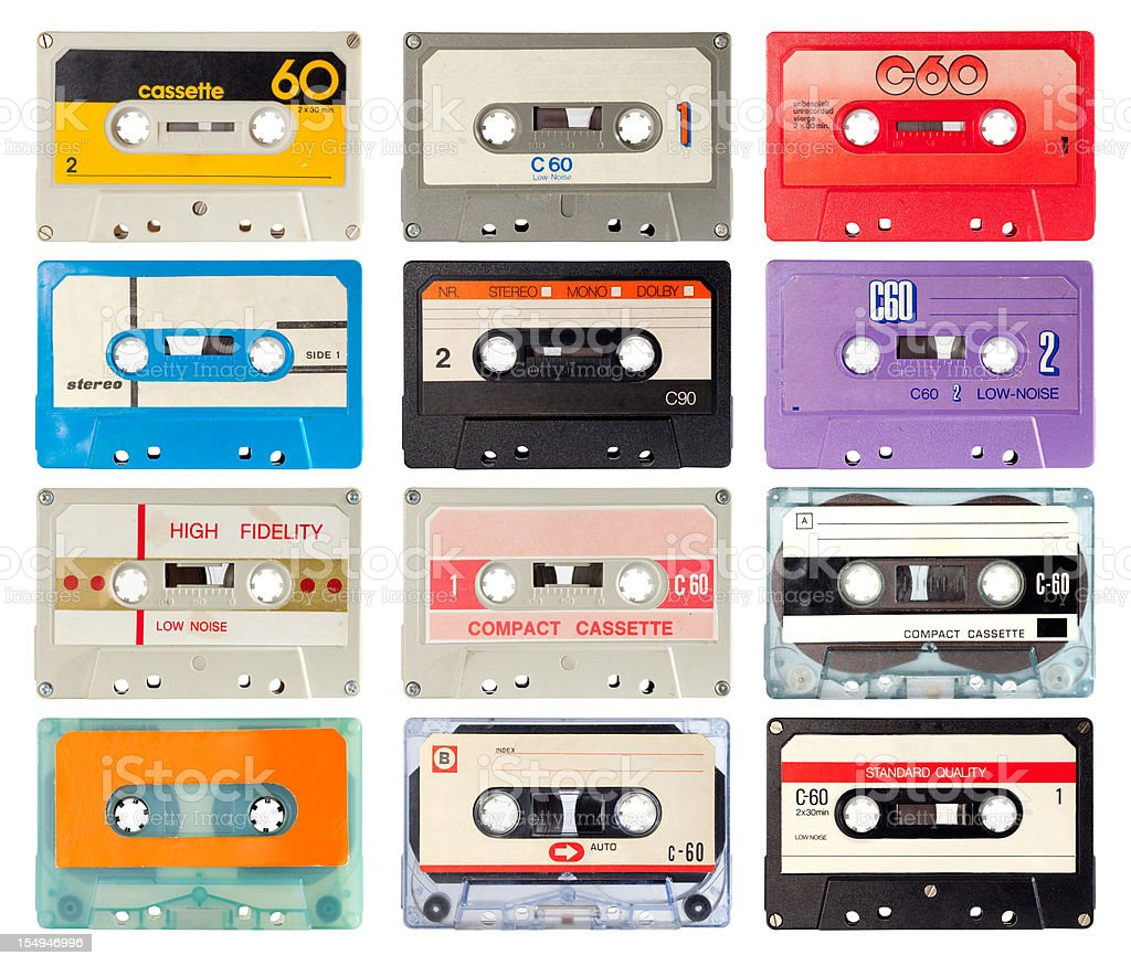 audio cassette of the eighties stock photo