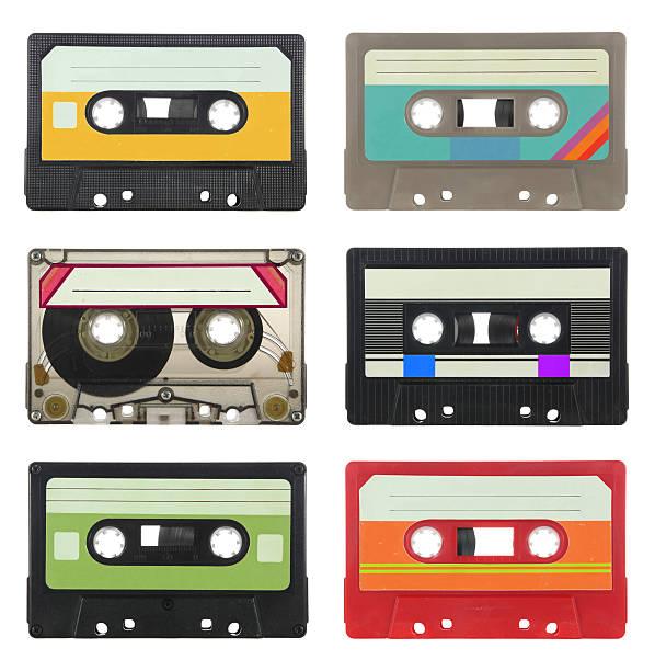 Audio cassettes Collection of vintage audio cassettes audio cassette stock pictures, royalty-free photos & images