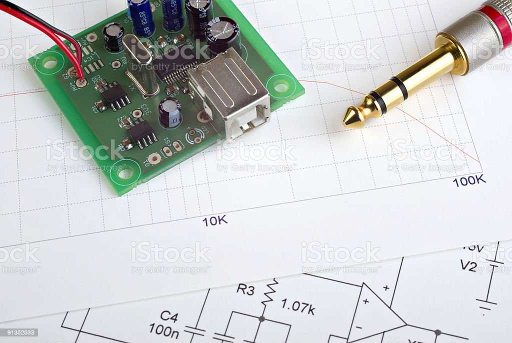 Audio Electronics Components and Documents royalty-free stock photo