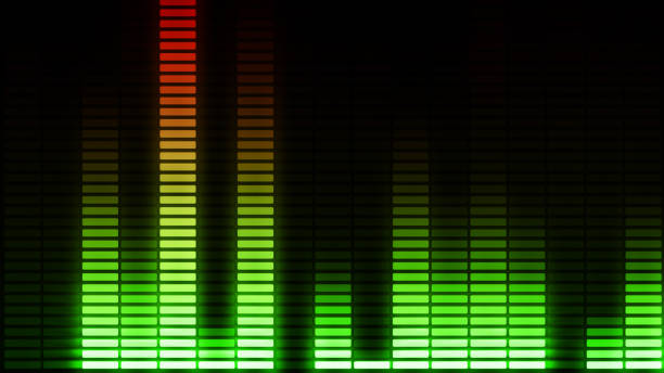 Audio equalizer bars moving. Music control levelsColorful.More color options in my portfolio. 3d illustration stock photo