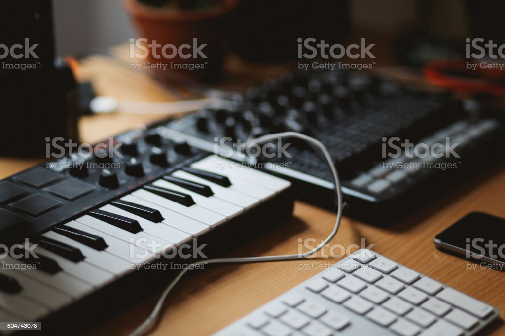 Audio Equipment In A Small Sound Studio Stock Photo - Download Image