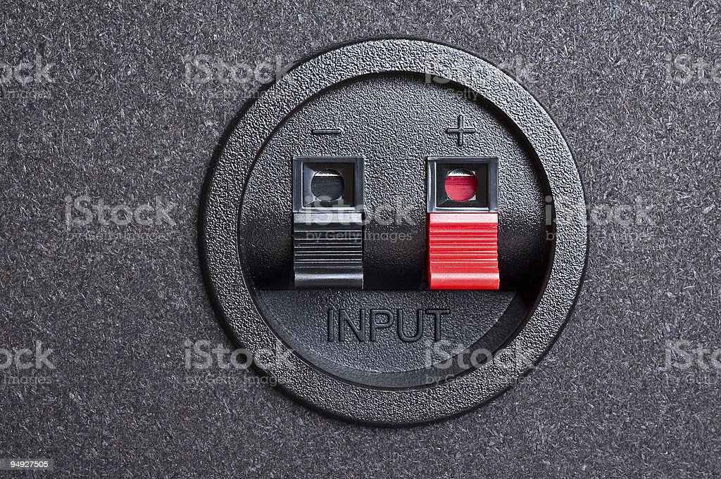 Audio input. Spring clips. stock photo