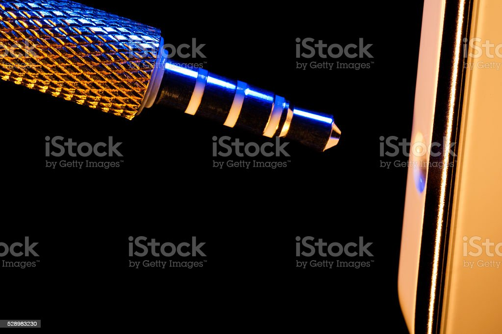 audio jack, cloce-up stock photo