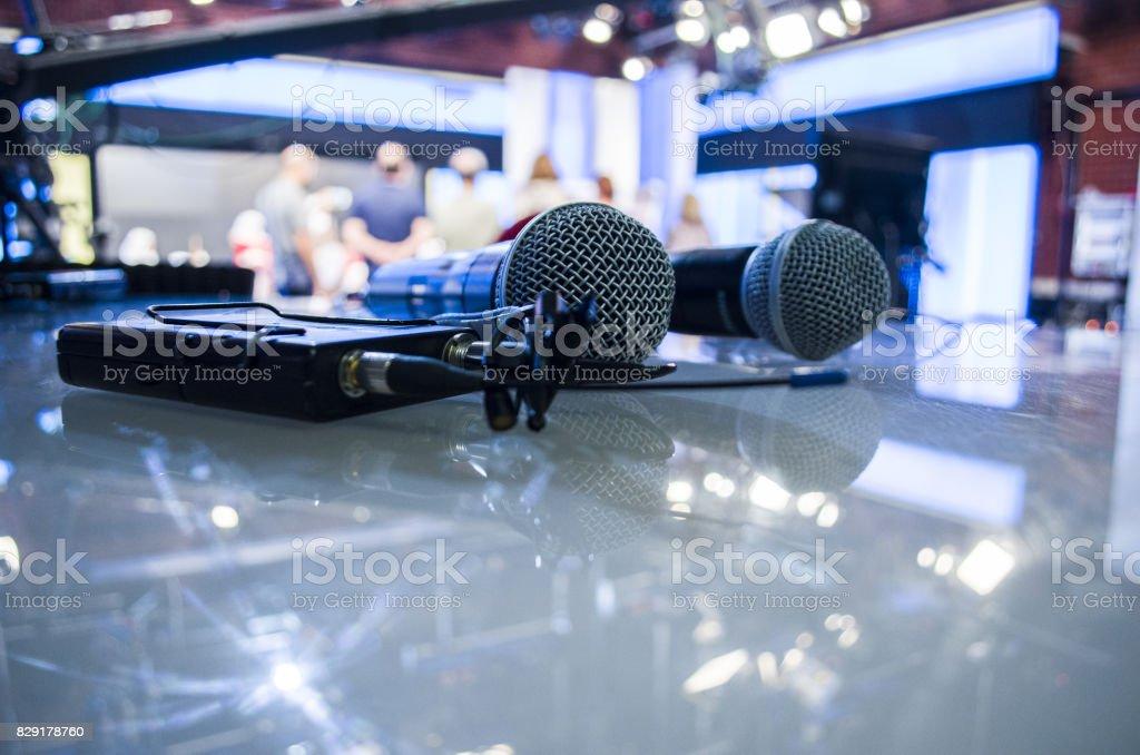 Audio microphone and audio equipment stock photo