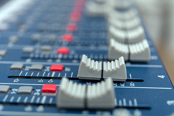 Audio mixer amplifier equipment, sound acoustic musical mixing engineering concept stock photo