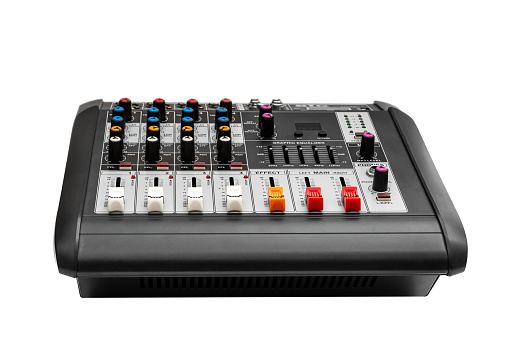 istock Audio mixer console on white background. 1202000797