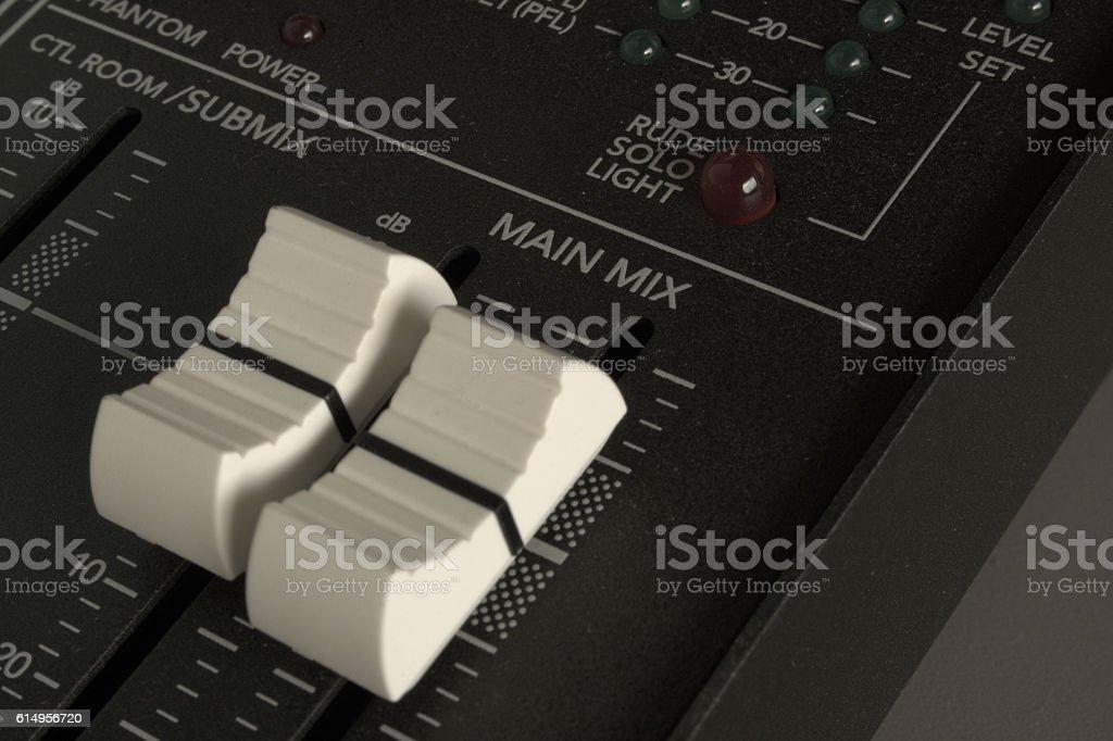 Audio mixer faders detail stock photo