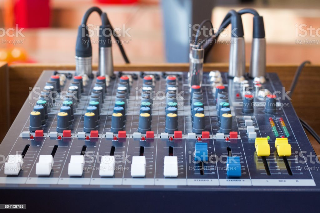 Audio mixer in a sound studio royalty-free stock photo