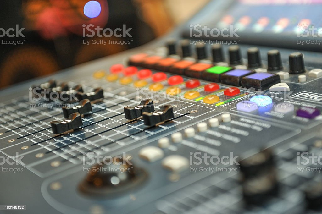 audio mixer, music equipment. recording studio gears, broadcasting tools stock photo