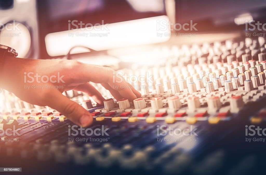 Audio Mixer Sound Adjusting stock photo