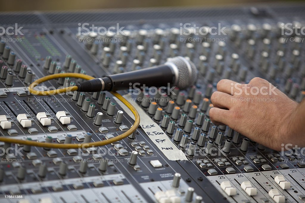 Audio mixer with hand and microphone royalty-free stock photo