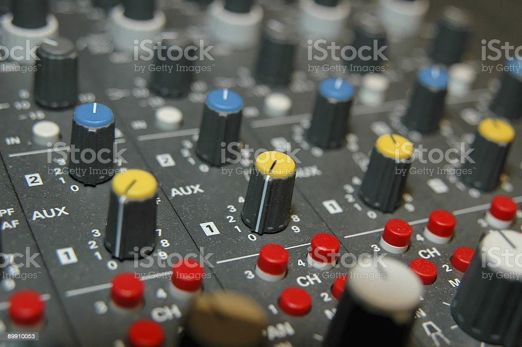 audio mixing controls 2 royalty-free stock photo