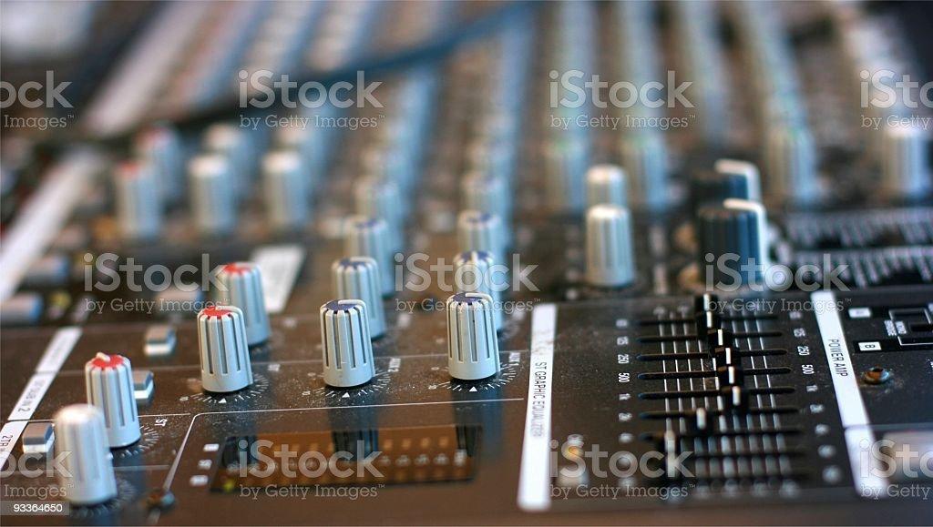 Audio mixing table stock photo