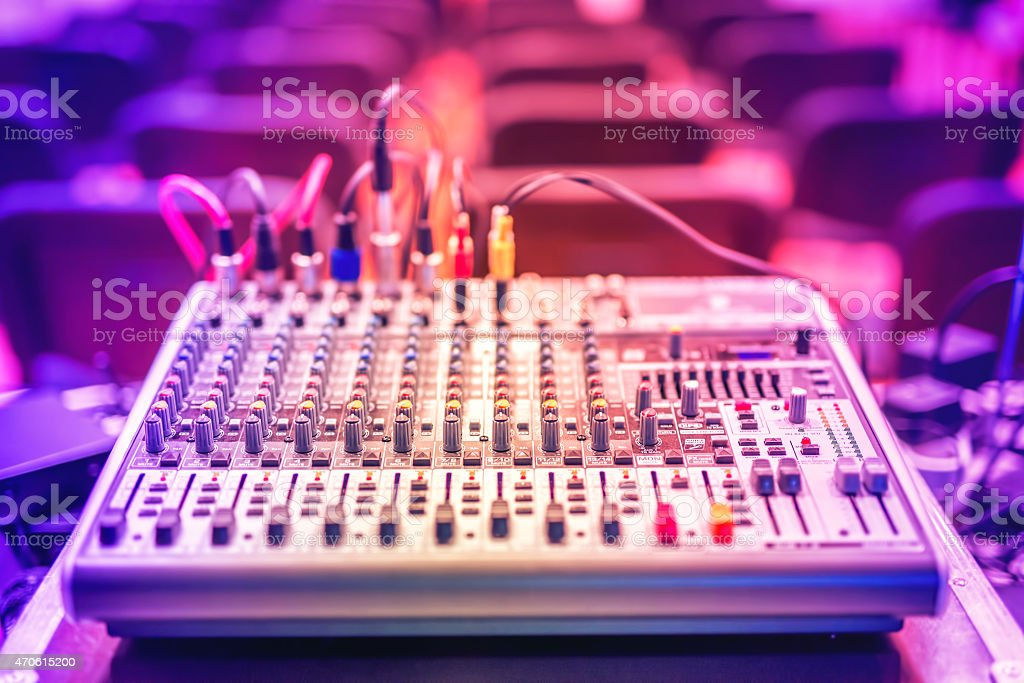 Audio music mixer and sound equalizer, dj equipment, nightclub accesories stock photo