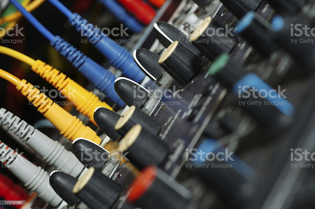 Audio processors in a rack from above royalty-free stock photo