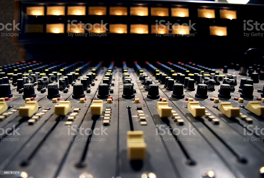 Audio record studio, professional console in recording studio, mixer panel stock photo