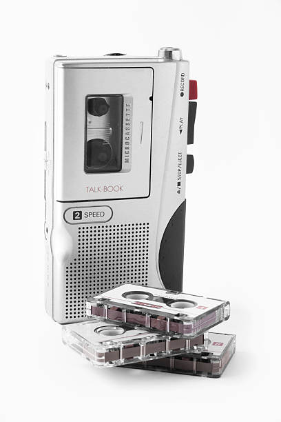 audio recorder with cassettes - dictaphone stock pictures, royalty-free photos & images