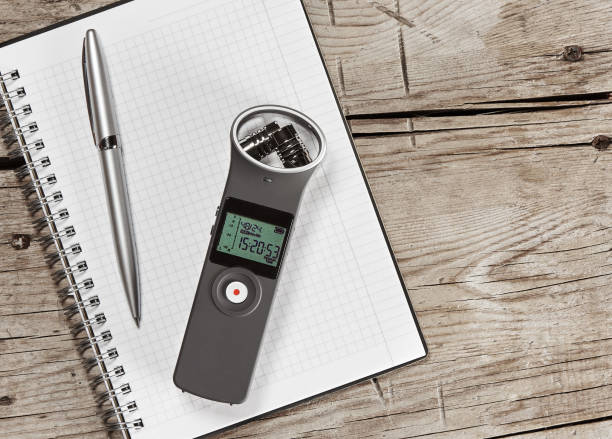 audio recorder with external microphone - recorder stock photos and pictures