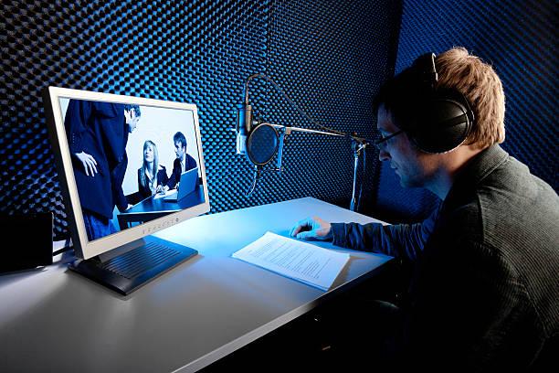 tonaufnahme studio, film/tv-produktion. stimme - postproduktion stock-fotos und bilder
