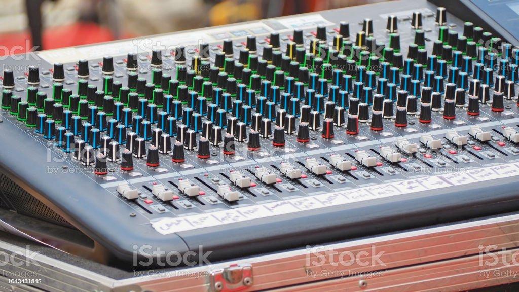 Audio sound mixer and amplifier equipment stock photo