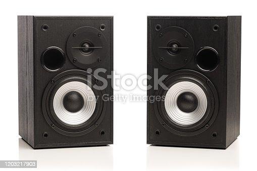 istock audio sound speakers, isolated on white 1203217903