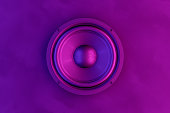 istock Audio Speaker Background with Neon Lights 1145058898