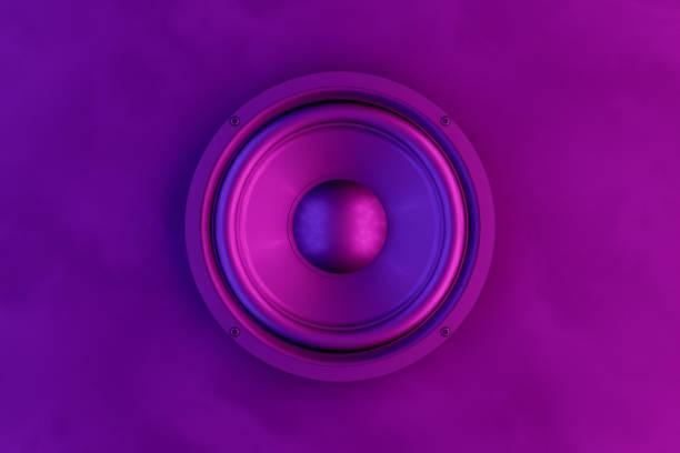 tło głośnika audio z neonowymi światłami - muzyka zdjęcia i obrazy z banku zdjęć