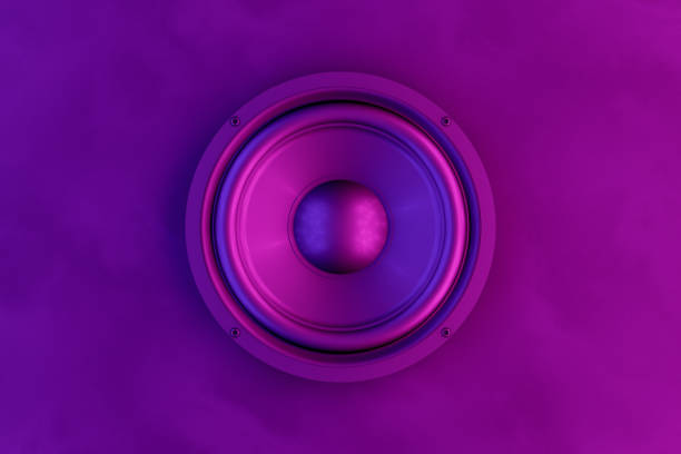 Audio Speaker Background with Neon Lights 3d rendering of Loudspeakers with neon lights. Music party concept. stereo stock pictures, royalty-free photos & images