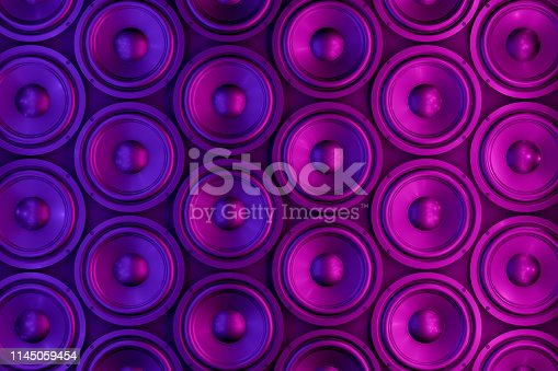 3d rendering of Loudspeakers with neon lights. Music party concept.