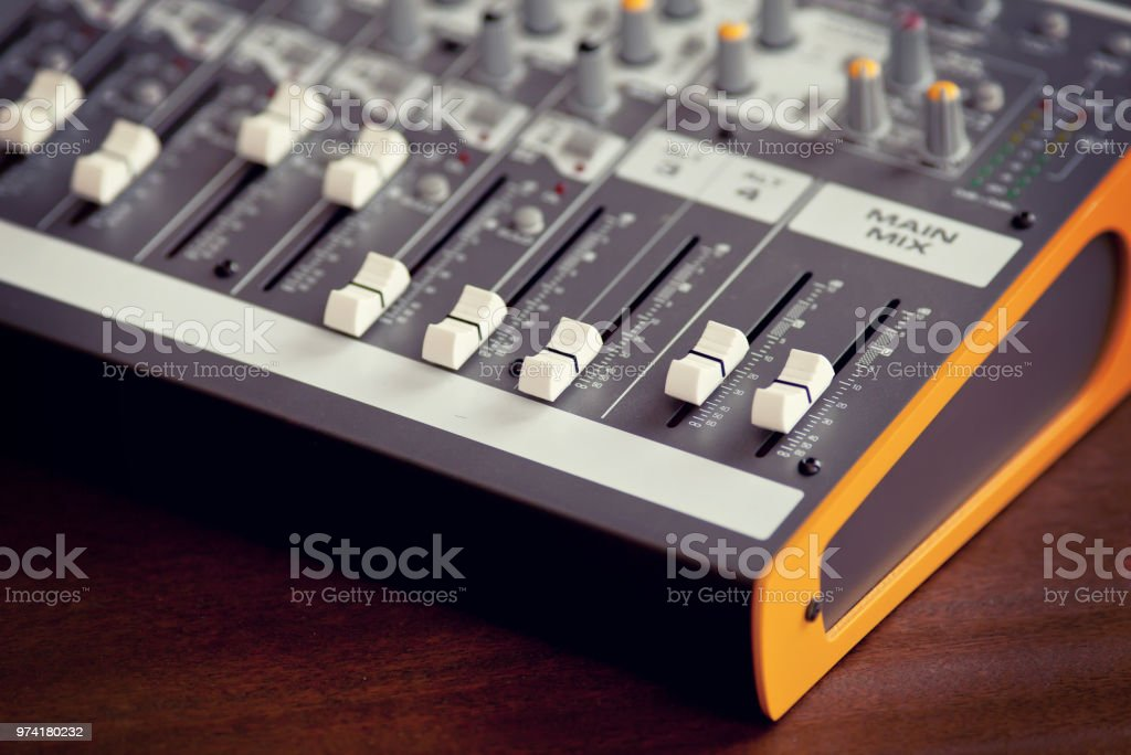 Audio studio sound mixing equalizer equipment board sliders and...