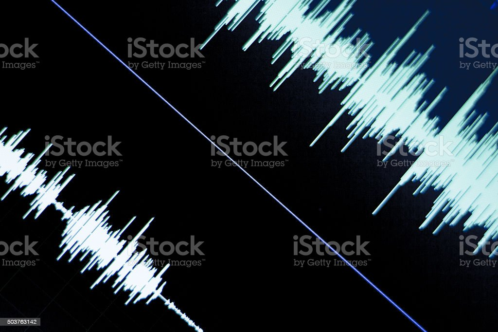 Audio studio digital voice recording voiceover sound wave on computer...