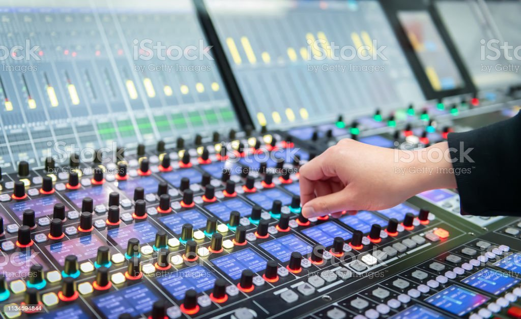Audio system for professionals. Close-up view of sound engineer...