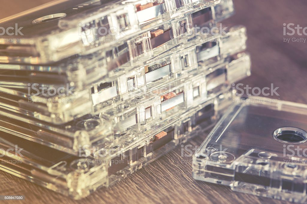 Audio tape cassettes. Music concept stock photo