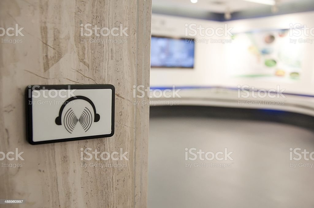audio tour sign stock photo