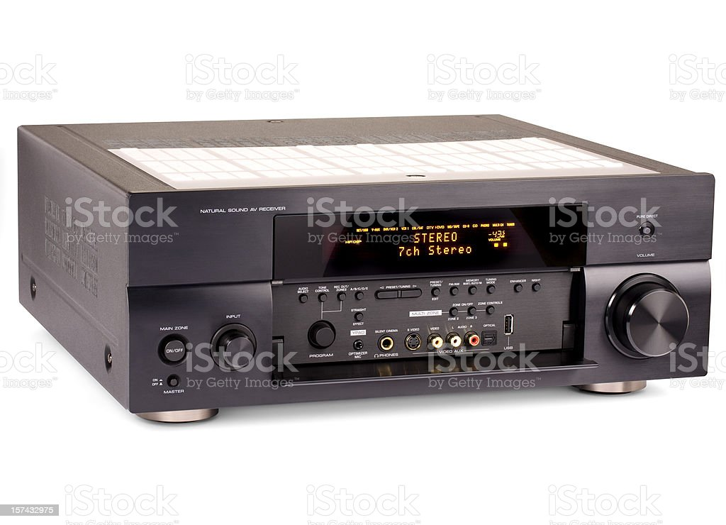 Audio Video receiver (clipping path) royalty-free stock photo