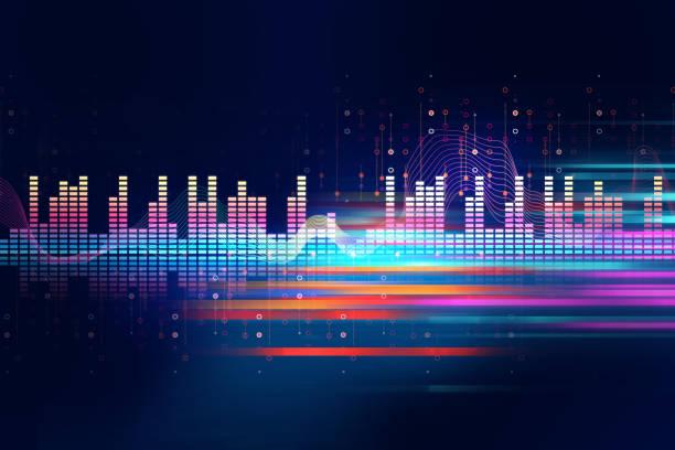 contexte abstrait audio de forme d'onde - dance music photos et images de collection