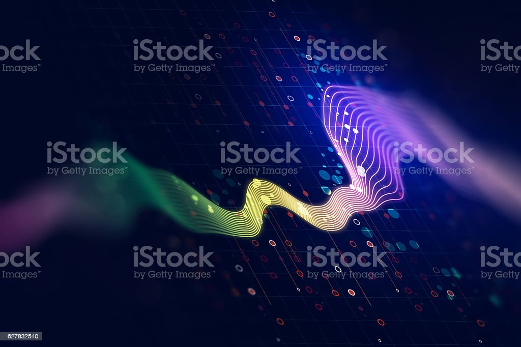 Audio waveform abstract technology background - foto de stock