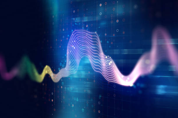 audio waveform abstract technology background - frequenza foto e immagini stock