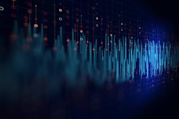 audio-wellenform abstrakte technik hintergrund - frequenz stock-fotos und bilder
