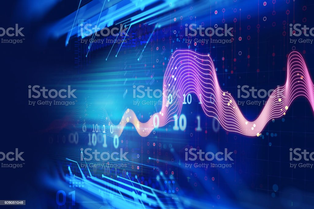Audio waveform abstract technology background stock photo