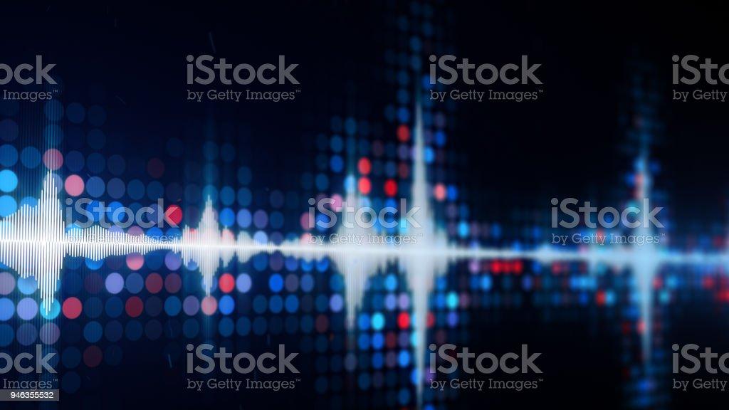 Audio waveform equalizer on monitor stock photo