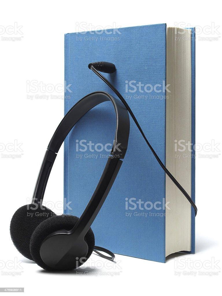 Audiobook and Headphones stock photo