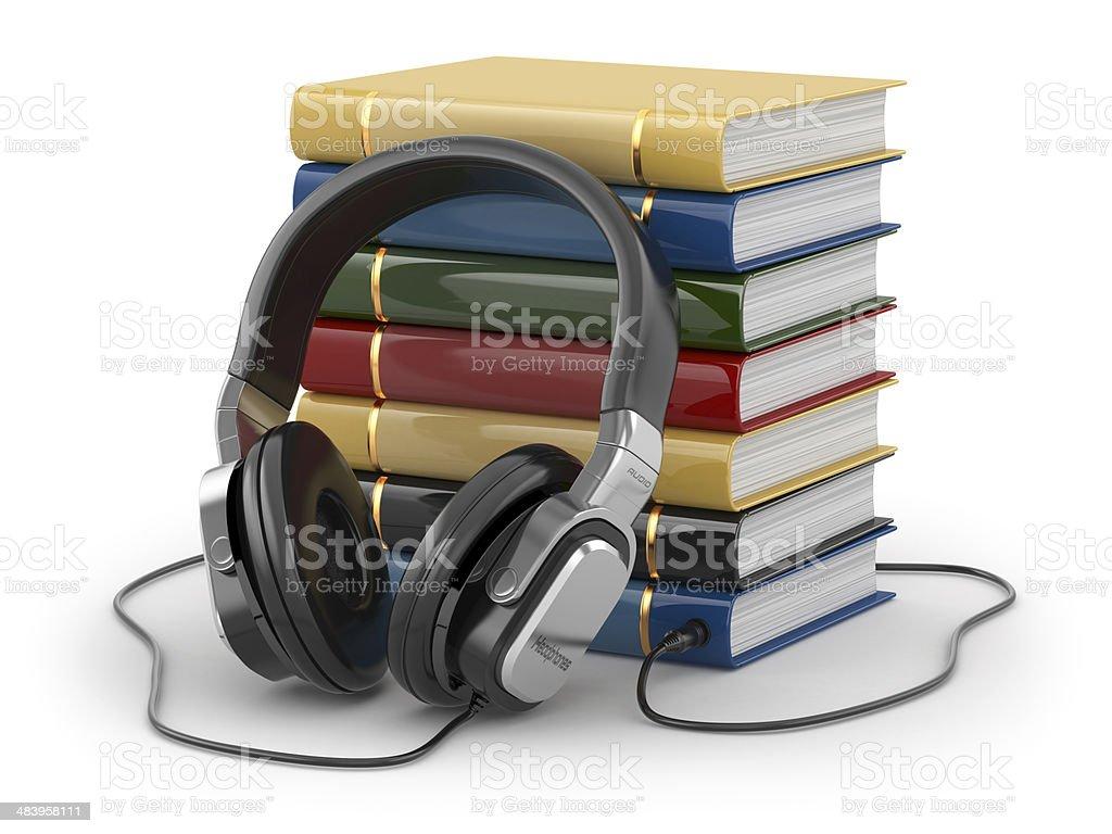 Audiobook concept. Headphones and books stock photo